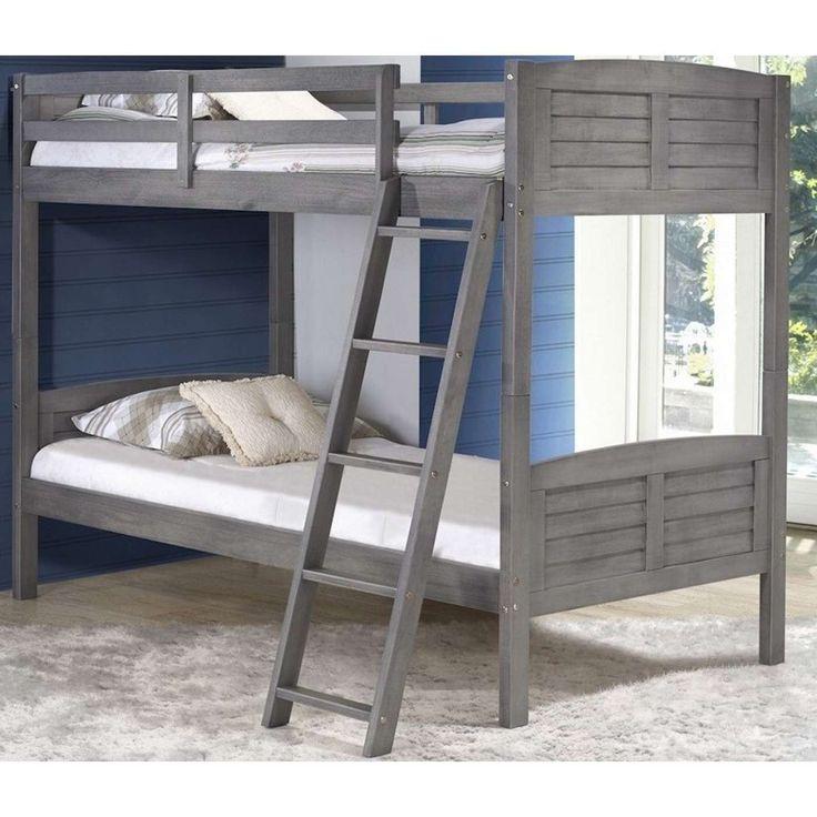 Louver Antique Gray Twin Bunk Bed