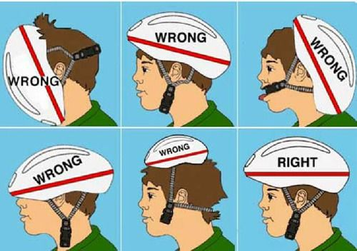 How to properly wear a helmet.Good thing this tutorial showed me. I've been wearing it like number 3 for years!
