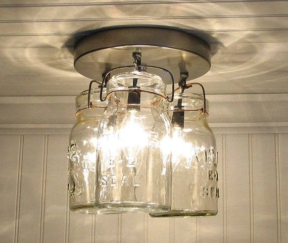 Making a single one using large ball jar and vintage amber filament light from restoration hardware for my laundry room. can't wait to put it up :)