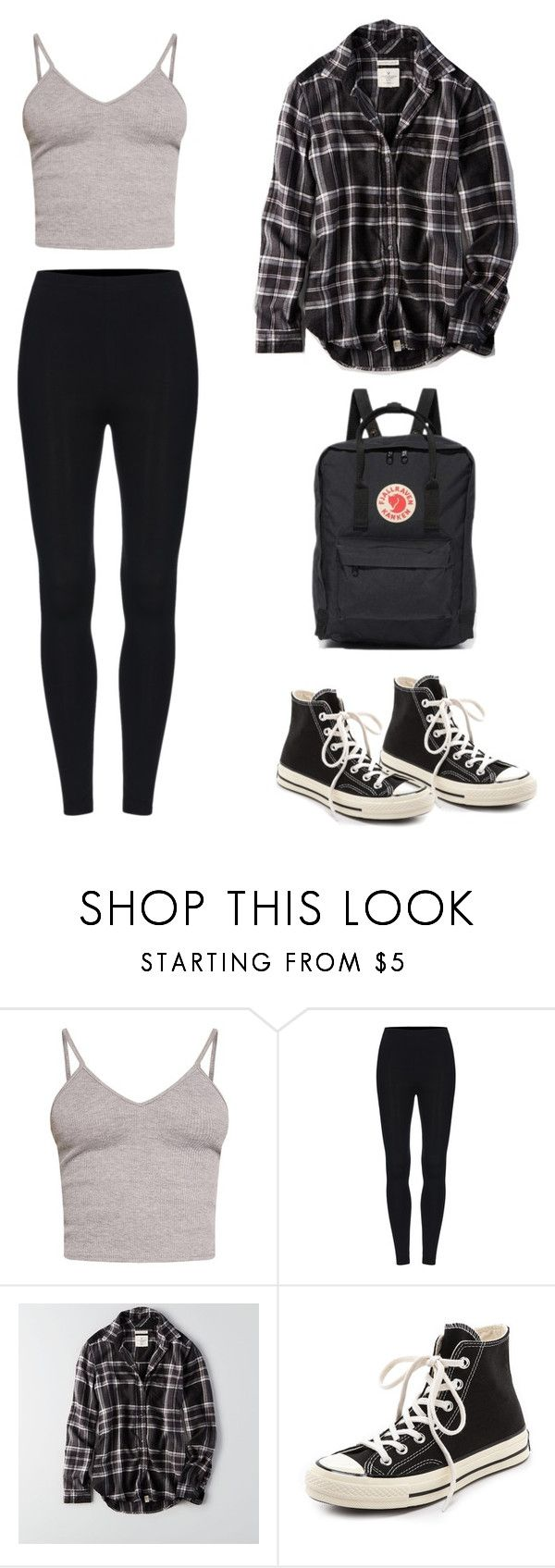"""Uni 7"" by liz-lite on Polyvore featuring BasicGrey, American Eagle Outfitters, Converse and Fjällräven"