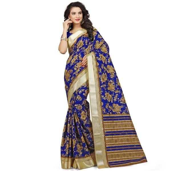 http://bit.ly/2mLq7yD#bluepolycottonsarees#floralprintcottonsari#cottonsariforwomen#cottonsareesladyndia.com