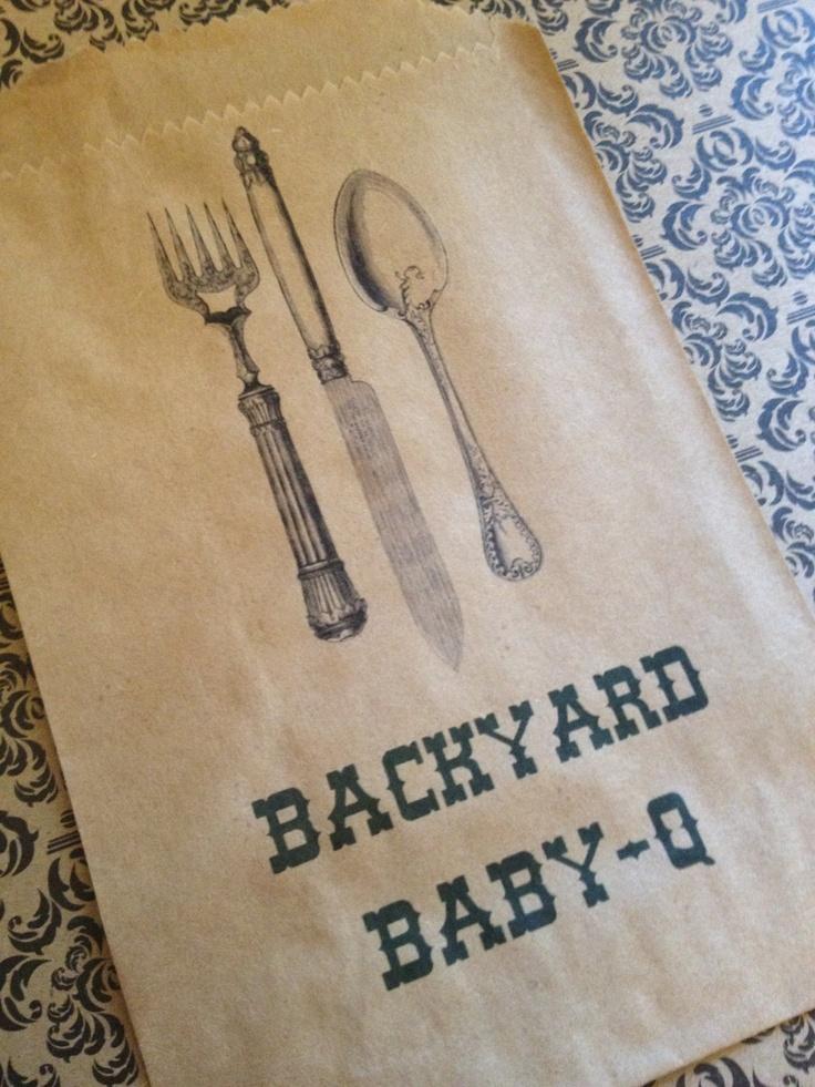 25 BackYard Baby-Q Silverware Pouches- Wedding, Baby Shower, Birthday Party, BBQ. $15.00, via Etsy.