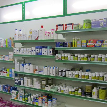 Mural estanteria iluminada mobiliario para farmacias - Soportes de estanterias ...