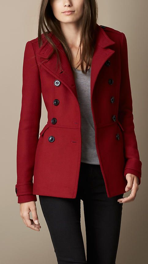 Damson red Wool Blend Twill Peplum Coat - Image 1                                                                                                                                                                                 Mais