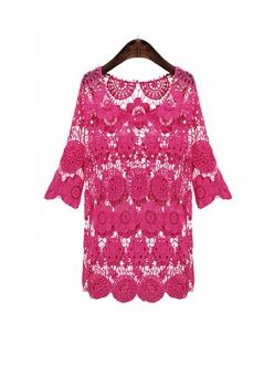 Rose Red Three Quarter Sleeves Hollow Crochet Top