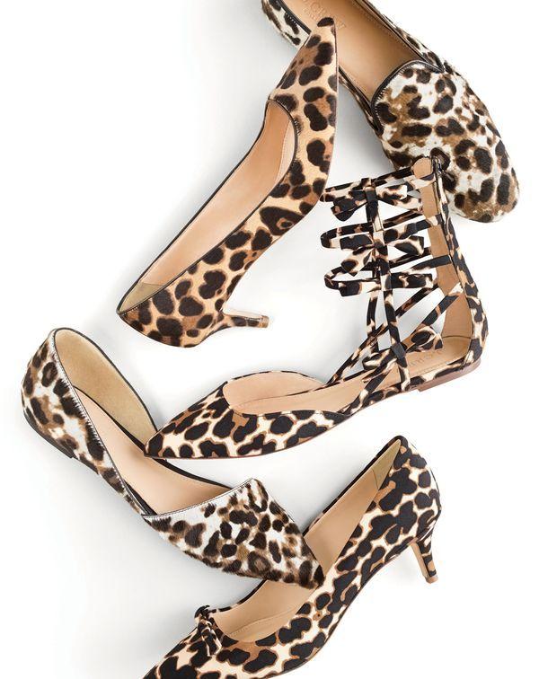 J.Crew women's Collection calf hair loafers, Collection Dulci calf hair kitten-heel pumps, leopard bow gladiator flats, Collection Sloan calf hair d'Orsay flats and Dulci kitten-heel pumps with bow.