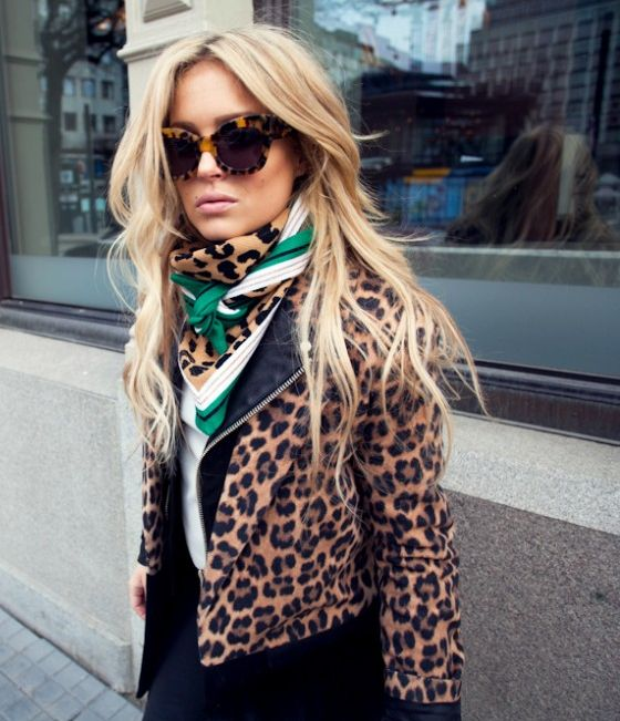 Leopard jacket apparel clothing outfit women style fashion sunglasses blond beautiful scarf white green street casual spring