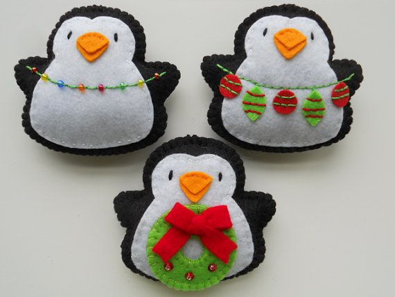Tree Trimming Penguin Felt Ornaments - Christmas Penguins - Penguin Christmas Ornaments on Etsy, $18.00