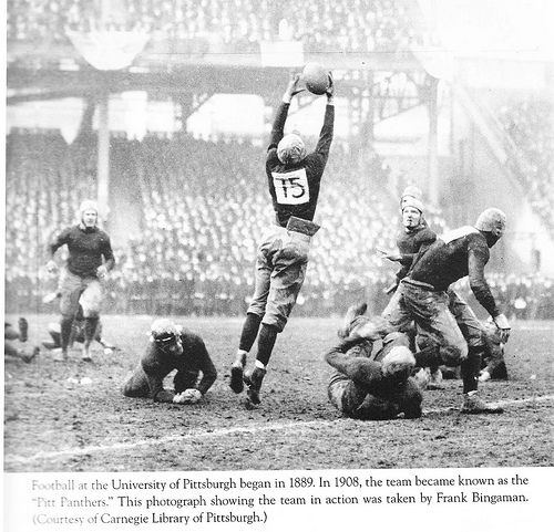On This Day in Pittsburgh History: October 3, 1908  Players for the University of Pittsburgh Panthers wore numbered jerseys for the first time. It is believed that Pitt was the first college football team to so outfit their players.