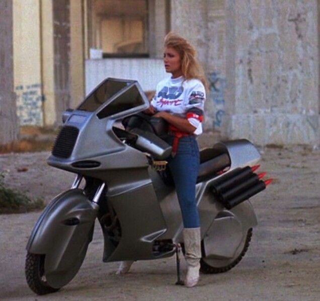 Cyclone with Heather Thomas on a custom Kawasaki Ninja 250r