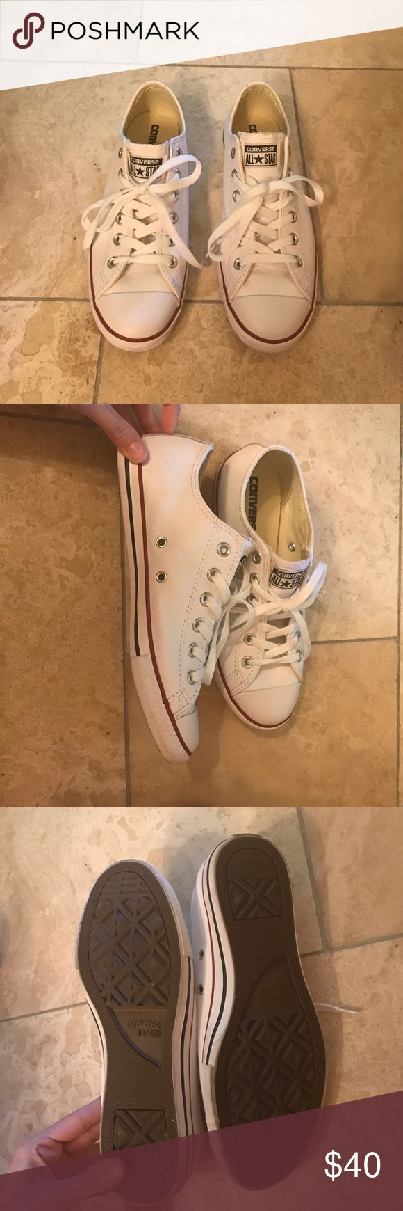 Converse Slim White size 8 Basically brand new. Worn one. In perfect condition. Slim sole, white leather. Women's size 8! Converse Shoes Sneakers