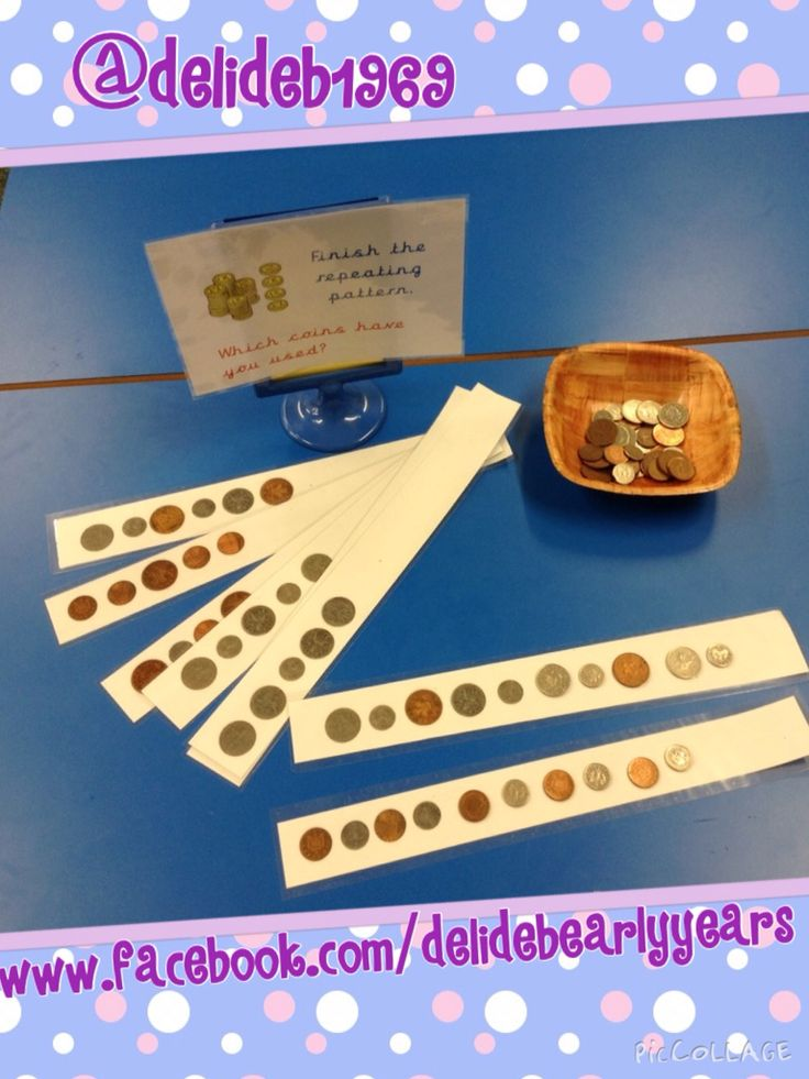 Repeating patterns to continue with photocopied strips of coins.