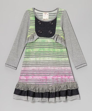 Take a look at this Gray Watercolor Stripe Ruffle Bib Dress - Toddler & Girls by Me & Ko on #zulily today!