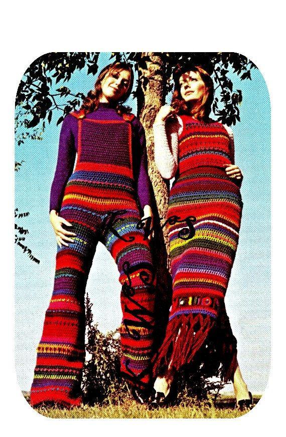 Vintage Crochet Hippie 70er Jahre Overalls & PDF-Schnittmuster - sofort-DOWNLOAD