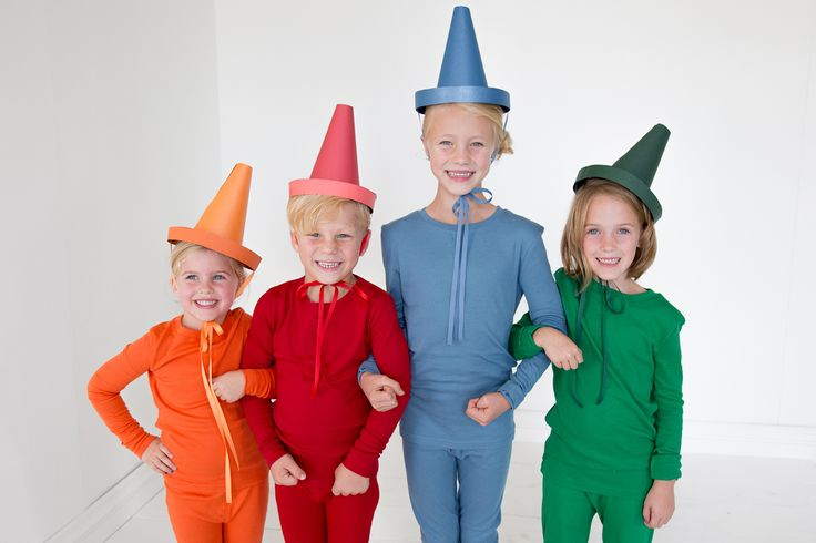 """DIY kids costumes - like this adorable """"The Day the Crayons Quit"""" costume set from The House That Lars Built - start with Primary.com's super soft PJs in brilliant colors. Perfectly cozy from trick-or-treating to bedtime, and they can wear them again!  25% Off and FREE Shipping for new buyers!"""