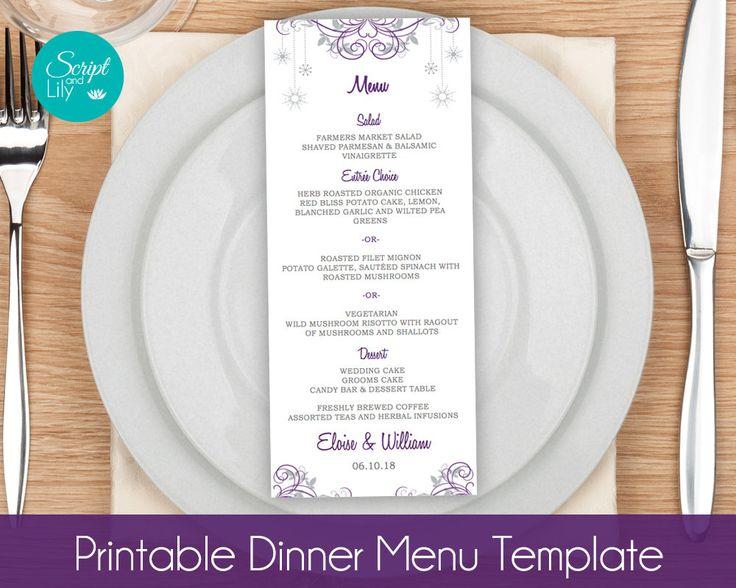 Snowflake Menu Card TEMPLATES   Winter Wonderland   Wedding   Dinner   DIY Edit & Print   Tea Length   Purple Silver Grey   Word or Pages by ScriptAndLily on Etsy