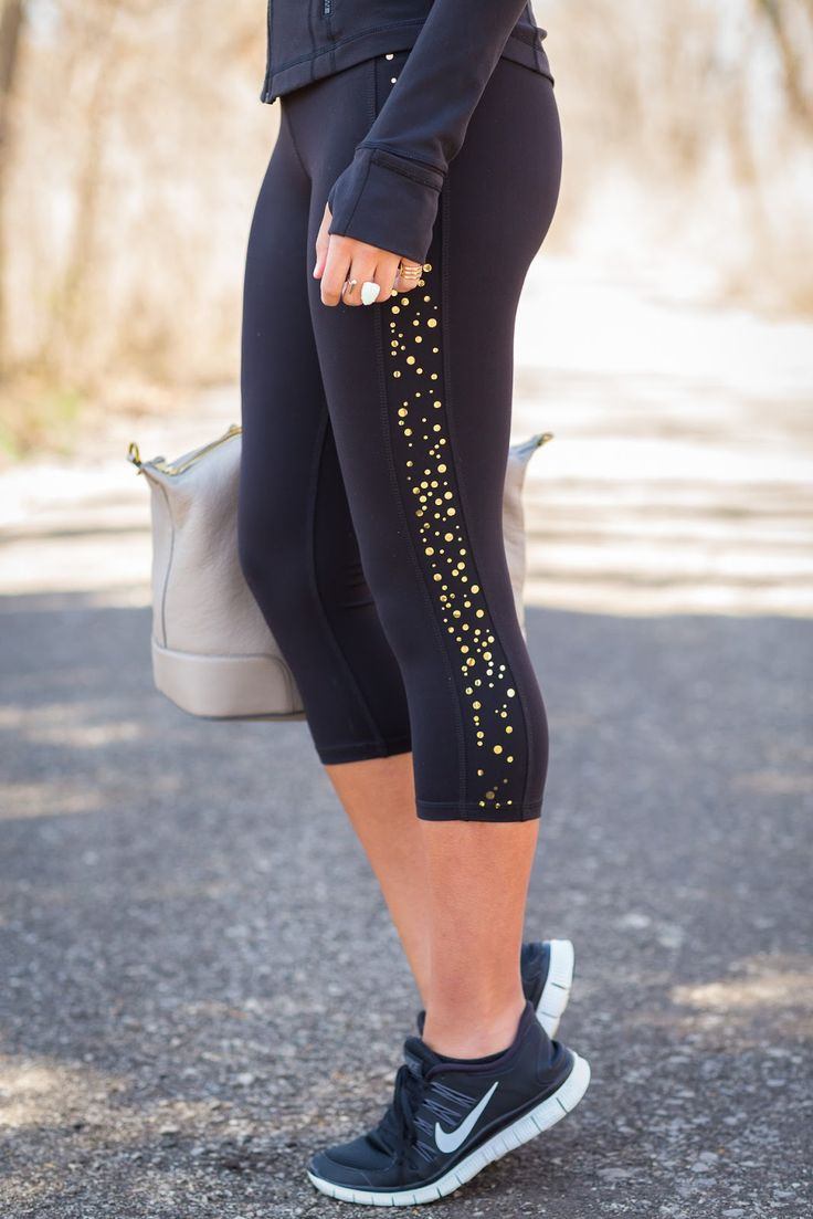 "Give your workout a boost in our glam & sophisticated gold ""Confetti"" yoga capris! The Devon Maryn brand makes chic, feminine activewear for women who want to exercise in color. FREE shipping 24/7 and made in the USA. Shop all Devon Maryn activewear at www.devonmaryn.com."