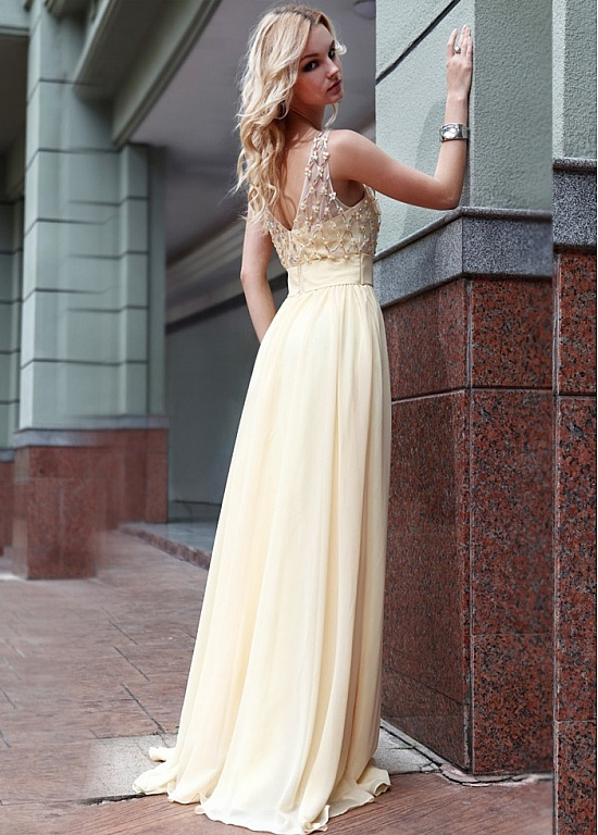 In Stock  Heavy Composite Filament   A-line Bateau Neckline Light Yellow Long Prom Dress
