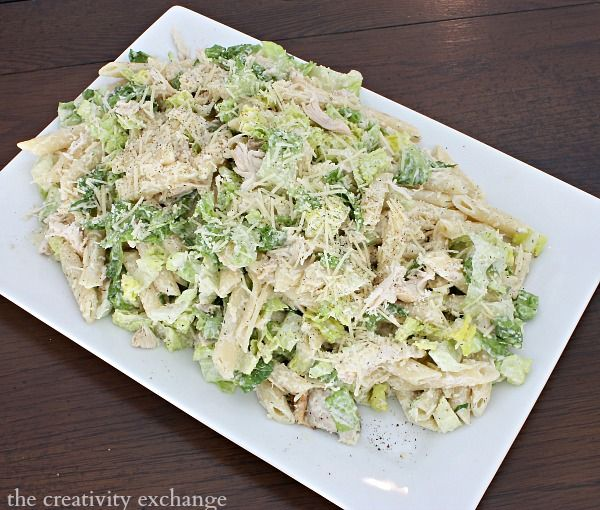 Chicken Casear Pasta Salad.  Delicious summer salad. The Creativity Exchange