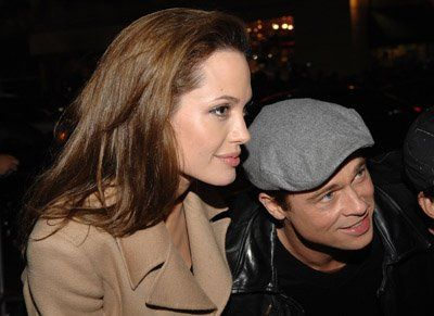 Brad Pitt and Angelina Jolie at event for Beowulf
