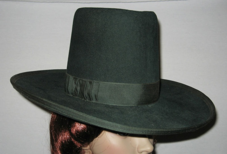 VTG 30s Unusual SUPERIOR Mexican Cowboy TALL DRESS HAT Sombrero GREEN WOOL FELT