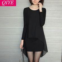 S-5xl artı boyutu kadın giyim siyah kadın elbise seksi kulübü uzun kollu tshirt şifon elbise gevşek bodycon sonbahar elbiseler(China (Mainland))