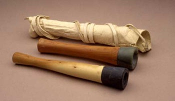 Hupa Men S Pipe With Manzanita Wood Stem And Blue Green