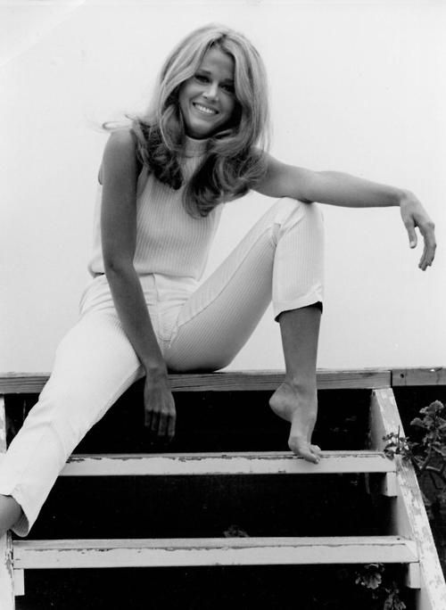 jane fonda. I think the world is telling me to buy white jeans.