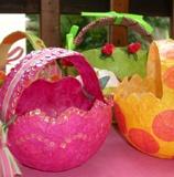 Such cute Easter baskets!  Paper mache a balloon, paint, tissue paper, sequins, ribbon.