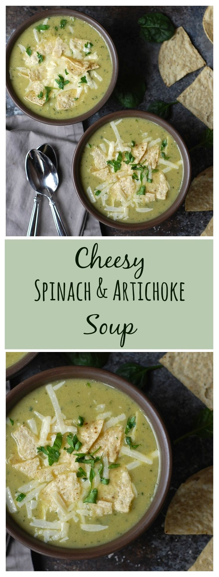 All the flavors of spinach and artichoke dip in soup form. Veganize by subbing vegan cheeses