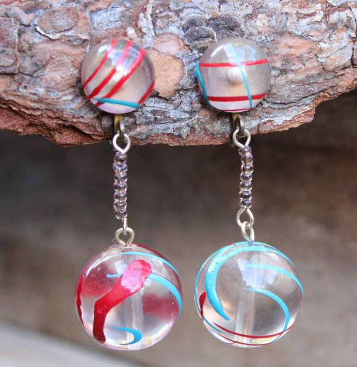 Vintage 50s Lucite Red Blue Screw-In Earrings Costume Jewellery Retro Jewelry