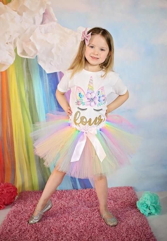 16fd552a5b7e THIS Unicorn 4th Birthday Outfit features a whimsical top and matching tutu  is the perfect photo