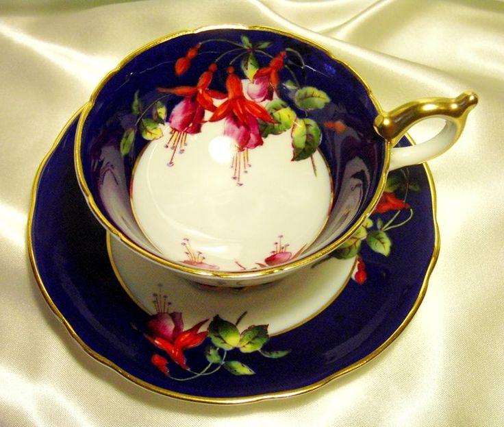 Coalport Cabinet Tea Cup & Saucer ~ Fuschias ~ Cobalt Blue
