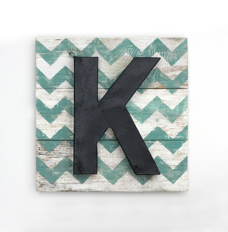 chevron wood art | Large Painted Letter K on Reclaimed Wood Chevron Art - 16x16 inches