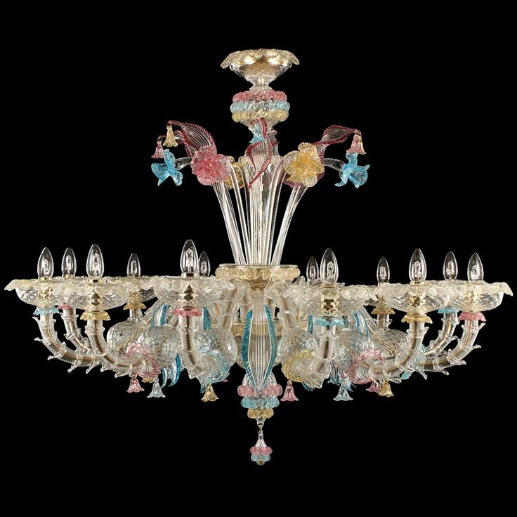 #Rezzonico #chandelier, 12 lights. Crystal body, polychrome details.