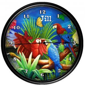 Personalized Parrot McCaw Tropical  Wall Clock Gift