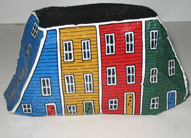 Hand+Painted+Rock+Newfoundland+Row+Houses++