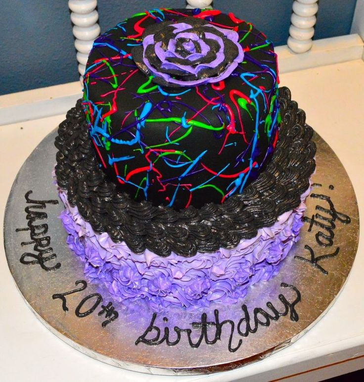 Neon Birthday Cake I could do this but I dont like using black so I would use pink on bottom purple on top then neon
