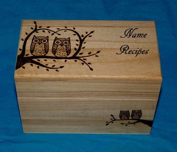 Decorative Wood Burned Wedding Recipe Card Box Rustic Wooden Owl Recipe Box Wedding Tree Personalized Wood Box Carved Love Birds