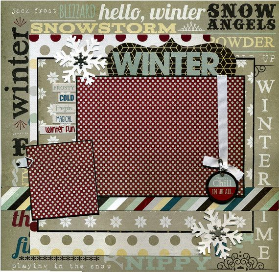 Winter Premade Scrapbook Page by SusansScrapbookShack on Etsy, $15.95