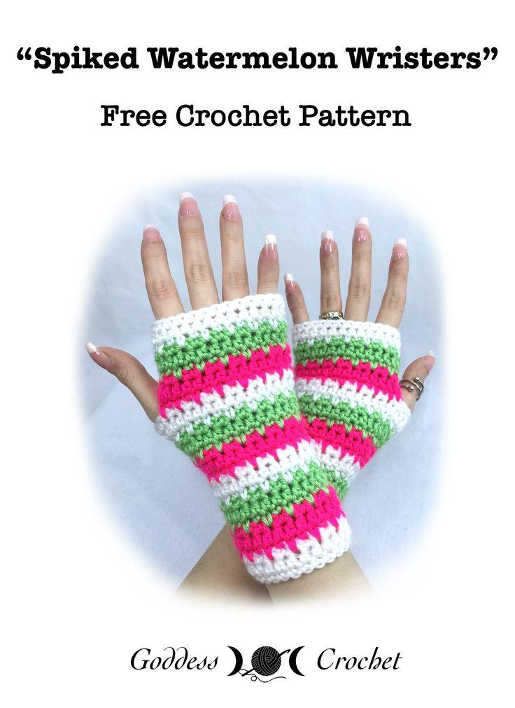Spiked Watermelon Wrist Warmers – Free Crochet Pattern