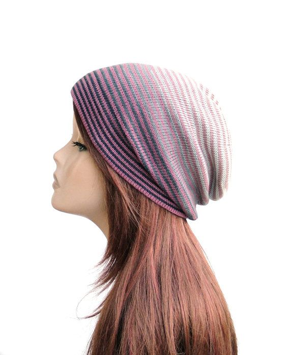 Lightweight cotton hat, ombre striped knit beanie by Rukkola on Etsy. #womensknithat #cottonbeanie #ombrehat