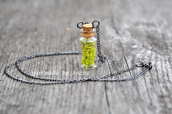 Small bottle with real green moss and gun metal necklace