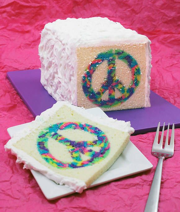 DIY Peace Cake ~ is a cinch to make and can be cus­tomized with any shape. What fun is this!  Love the secret in making these surprise cakes!