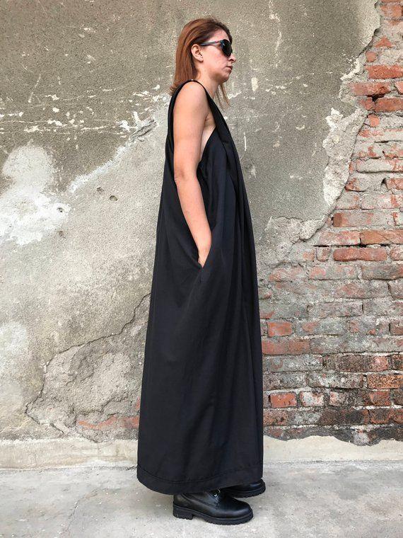 Maxi Jumpsuit Cotton Jumpsuit Black Jumpsuit Women Romper Gothic Clothing Women Jumpsuit Extravagant Jumpsuit Black Overall