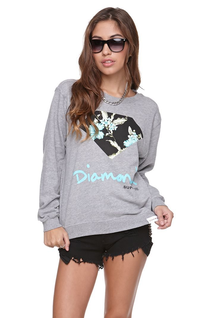 Womens Diamond Supply Co Hoodie - Diamond Supply Co Diamond Floral Crew Fleece