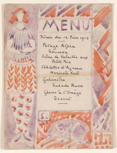 Menu card designed by either Vanessa Bell or Duncan Grant, 1913.                                                                                                                                                                                 Plus