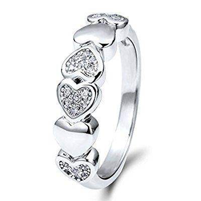 BERRICLE Sterling Silver Cubic Zirconia CZ Heart Fashion Right Hand Ring