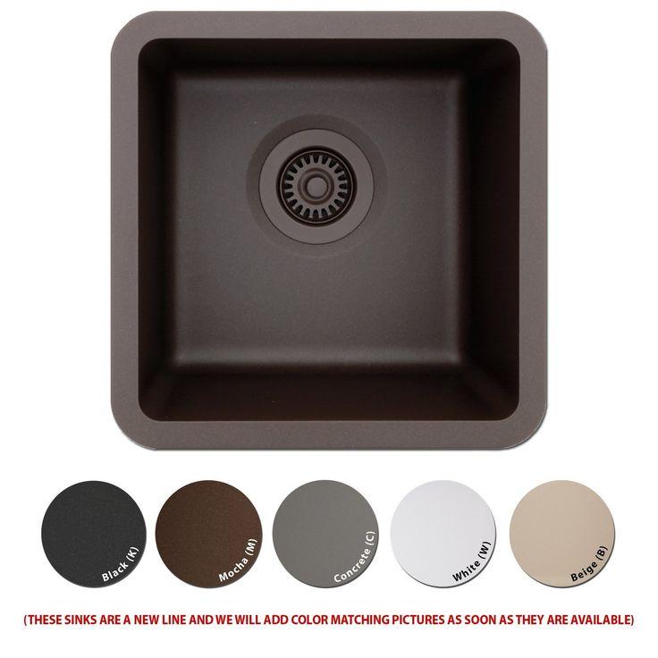 Lexicon Platinum Quartz Composite Kitchen Sink   Small Single Bowl (LP 1515  Black)