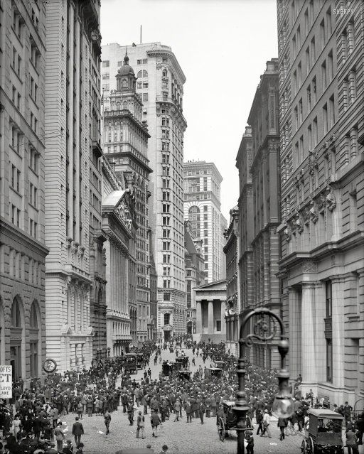 """New York circa 1905. """"Broad Street curb brokers and the Stock Exchange."""" 8x10 inch dry plate glass negative, Detroit Publishing Company."""